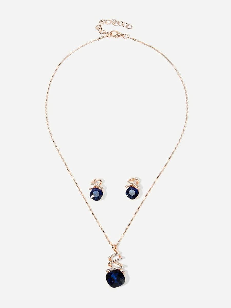 ZHAWE Super sale Women's Jewelry Set Series Necklace Surprise price Spiral Detail Gemstone