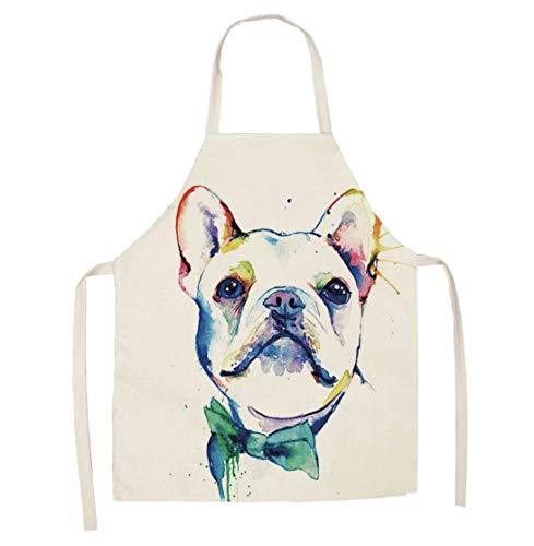TOL Kitchen Apron Modern Art White Frenchie pup Kitchen Baking Apron