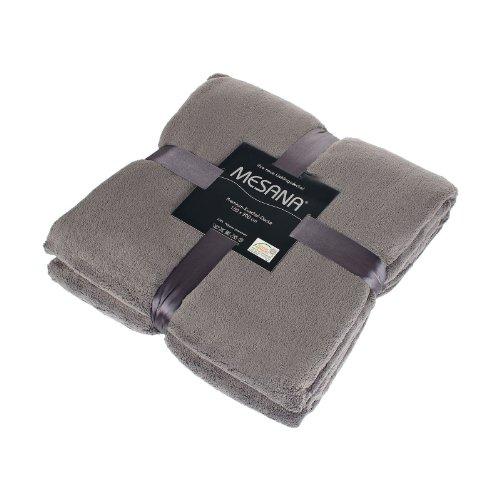 MESANA F-10059/29 hochwertige Mikrofaser Premium Wohndecke, 150 x 200 cm, Fleece, flauschig weich, viele, grau