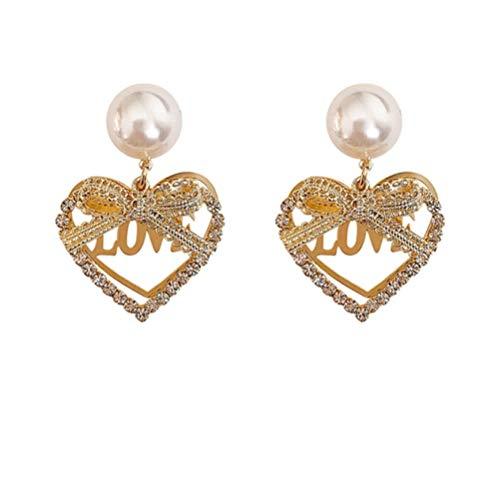 Vvff Elegantes Colgantes De Corazón Hueco De Rhinetone Brillante Joyería De Moda Femenina Pendientes De Metal De Perlas Joyería