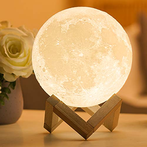 Moon Lamp with Stand Adjustable Brightness and Warm White/Cool White Color, USB Charging Cable. Romantic Moon Light Will...