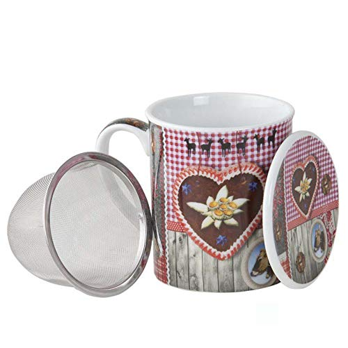 Aromas de Té - Taza de Té con Filtro y Tapa/Tisana Infusiones y tes de Porcelana con Infusor de Acero, Diseño Corazón