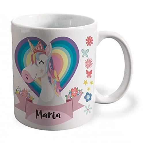 BEE INGENIOUS Taza unicornio personalizada con nombre o texto. Regalos para Niños y Niñas Personalizados.Tazas Personalizadas de Cerámica. Tazas unicornio para niños. Tazas frikis originales. (Rosa)