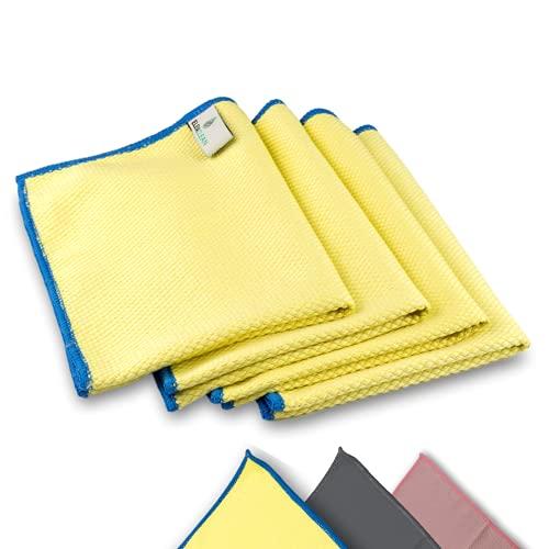 ELEXACLEAN Fenstertuch streifenfrei, Mikrofaser Scheibentuch (4 Stück, 40x30 cm, gelb) Premium Glas Putztücher Autotuch für Innen und Außen
