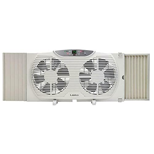 Lasko Electrically Reversible Twin Window Fan with Remote Control, 9 INCH, White