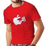 Männer T-Shirt Lustiger Apfel isst einen Roboter - Geschenk für Tech-Fans (X-Large Rot Weiß)