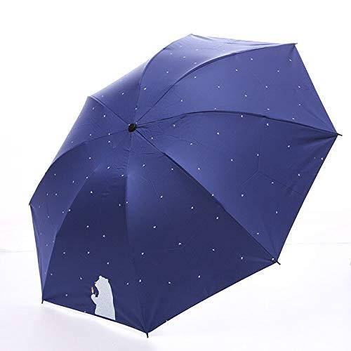NJSDDB paraplu Leuke Cartoon Beer Parasol Regen Vrouwen Winddicht Dubbele Omgekeerde Paraplu's Opvouwbare Zon Protectiom Parasol Met Doos, Blauw