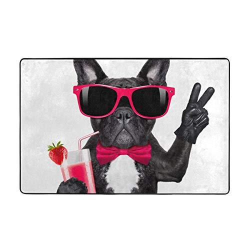 Alfombra de baño, Bebida, Bulldog francés, batido de Perro, batido, cóctel y Gafas Divertidas, Dedos de la Paz, Alfombra de baño de Animales, 50x80 cm