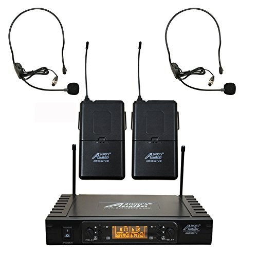 Audio 2000s AWM6527UH UHF Dual Channel Headset Wireless Microphone System with 100 Selectable Frequency