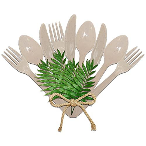 Posate in plastica dura, set di forchette, cucchiai e coltelli – posate in plastica riutilizzabile con guscio di mandorla – Stoviglie in plastica dura riutilizzabile per bambini, adulti e bambini