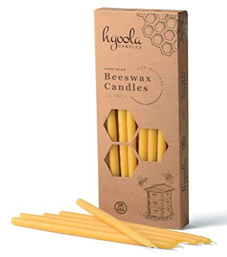 Hyoola Beeswax Taper Velas - 25 Unidades - Hecho a Mano, Todo Natural, 100% Puro Aroma Vela de Cera de Abeja - Alto, Decorativo, Amarillo Dorado - 23 cm de Alto - Hecho a Mano en los Estados Unidos