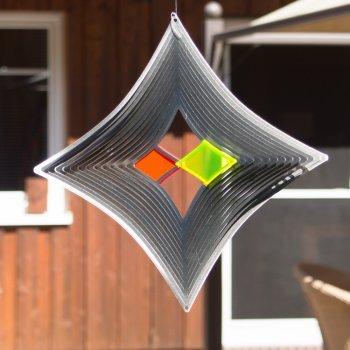 Acier inoxydable Carillon – Sun Dancer Mix losange Duo – Mélange unique, lichtreflektierend – Dimensions : 30 x 30 cm – avec crochet avec roulement à billes vertébrale