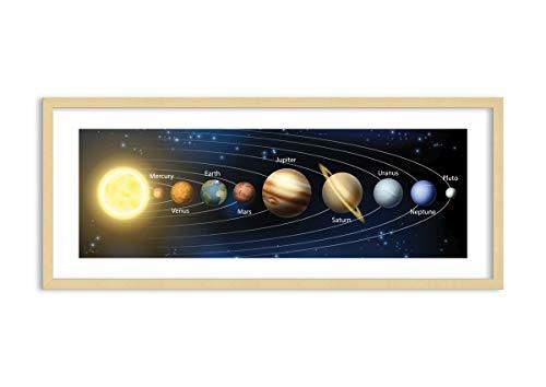 Imagen en un marco de madera de color natural - Imagen en un marco - Cuadro sobre lienzo - cosmos planeta - 120x50cm - Impresión en lienzo - Imagen Impresión - Cuadros Decoracion - F1NAB120x50-3650