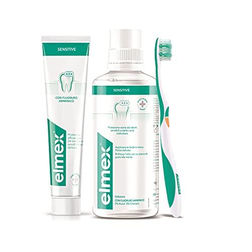 elmex Kit Sensitive Denti Sensibili 3in1 Dentifricio, Spazzolino e Collutorio, 24h di Protezione per Denti Sensibili