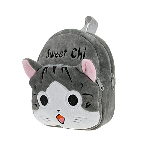 Petit Sac à Dos en Peluche Bébé Cartoon Cartable 3D Chat Gris Adorable Backpack Ecole Pour...