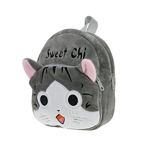 Petit Sac à Dos en Peluche Bébé Cartoon Cartable 3D Chat Gris Adorable Backpack Ecole Pour...