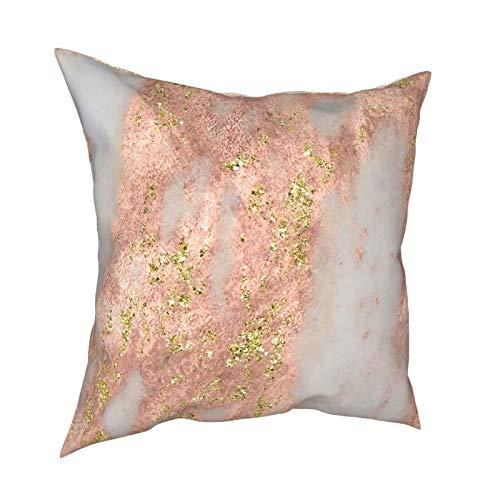 DearLord Fundas de cojín cuadradas de mármol oro rosa con purpurina de oro amarillo, fundas de almohada de doble cara para sofá dormitorio con cremallera invisible 45,7 x 45,7 cm
