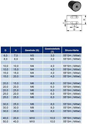 mm M8 x 8 mm weitere Gr/ö/ßen in unserem Shop D L H Gummipuffer Schwingungsd/ämpfer Silentblock Gummi-Metall-Puffer 30 mm x 25