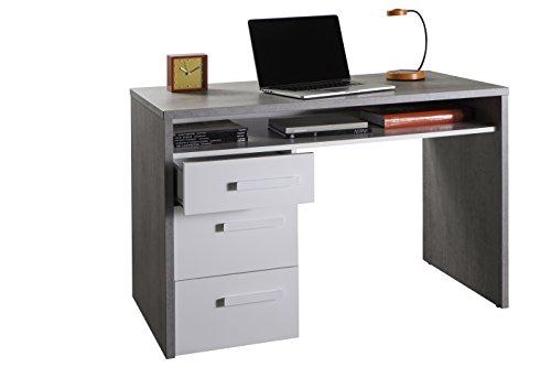 Composad SR2655K56104 Piace scrivania, Legno, Bianco Laccato, 60 x 110 x 74 cm, Beton/White High Gloss, 60x110x74 cm