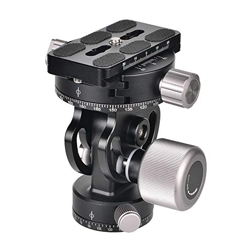 Moveski VH-10R 2-Way Pan Tilt Tripod Head 360° Rotating Panoramic Photography Head with Quick Release Plate 3 Bubble Levels Carry Bag Replacement for Sirui L10 RRS MH-02 Max