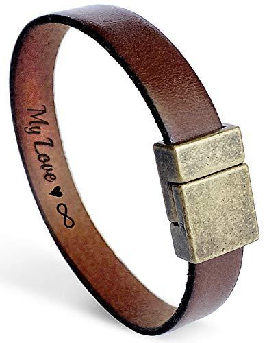 Personalized Secret Message Leather Bracelet for Men Bronze Anniversary Gift for Husband