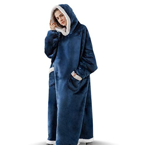 Bedsure Long Wearable Blanket, Sherpa Blanket Hooded, Standard Blanket Sweatshirt with Deep Pockets and Sleeves for Adults, Navy