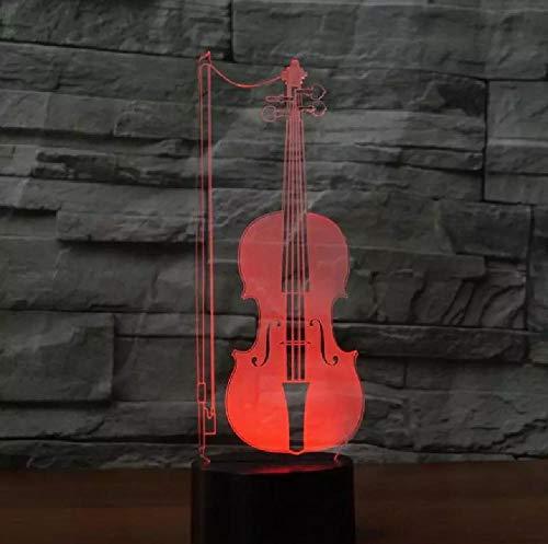 Violonchelo 3D luces lámpara 3D regalo acrílico USB llevó la luz de la noche 7 cambio de color niños habitación luz