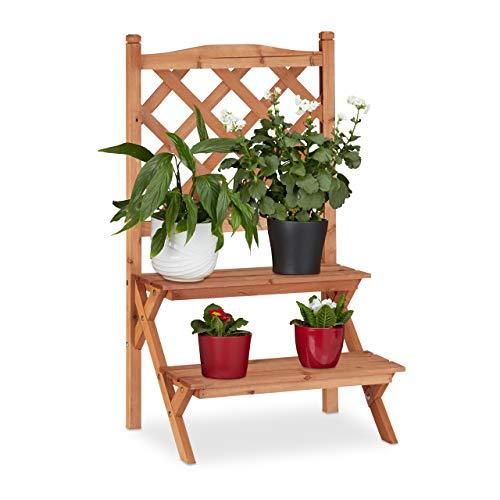 Relaxdays Blumentreppe mit Rankgitter, 2 Stufen, für Blumentöpfe & Kletterpflanzen, Tannenholz, HBT: 89x51x40cm, natur