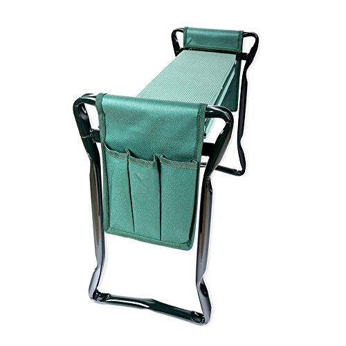 Schramm® Garten Arbeitshocker Gartenhocker beidseitige Arbeitstaschen klappbar Sitzbank Kniebank Gartenbank Erntebank Knieschutz Bank