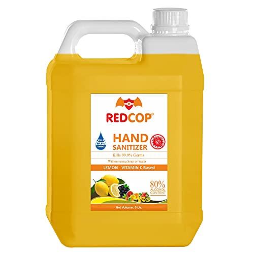 REDCOP Hand Sanitizer 5 litre (Sanitiser for spray – Pure, Liquid, Best) Alcohol Based with Lemon, Vitamin C