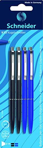 Schneider - Penna a sfera K 15, meccanica, M, confezione da 4, 2 nere e 2 blu
