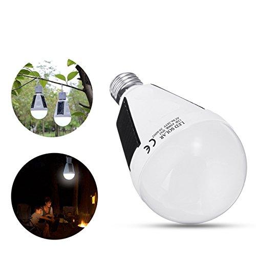 MASUNN Solar Powered E27 12W Blanc Portable extérieur LED Ampoule d'urgence pour Le Jardin Camping AC85-265V