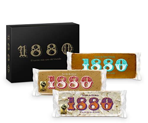 1880 - Pack Tu Navidad Turrón de Jijona 400g + Turrón de Alicante 400g + Turrón de Yema Tostada 400g | Calidad Suprema Típico Dulce Navideño Receta Artesanal | Turrón Tradicional 1200 g