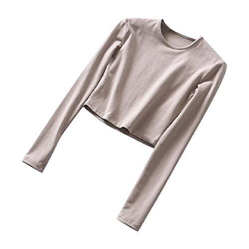 Camisetas Delgadas sólidas O-Cuello Espalda elástica Top Recortada Manga Larga Ajuste Deportes Casual Moda Mujer Otoño Invierno Camisetas básicas