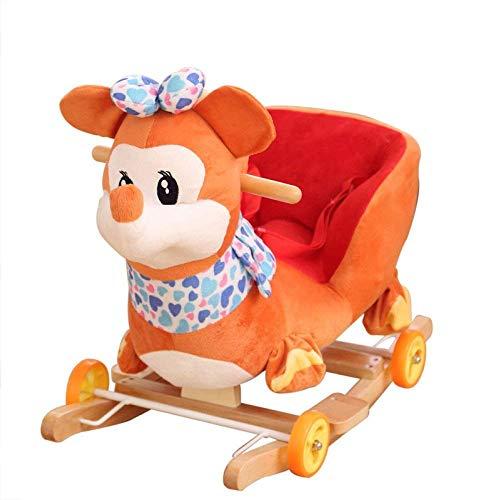 Asiento niño animal del bebé del caballo mecedora de madera 2 en 1 doble uso felpa del caballo de oscilación de ruedas hasta 6 meses Niños y Niñas suave mecedora de música de juguete de regalo de cump