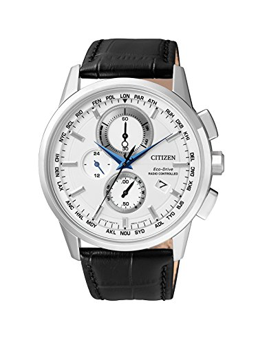 Citizen Herren-Armbanduhr Radio Controlled Chronograph Quarz Leder AT8110-11A