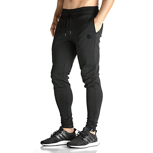 Broki Herren Zip Jogger Hosen Jogginghosen Männer Slim Fit Gym Fitness Trainingsanzug Chino Pants Gr. L, schwarz