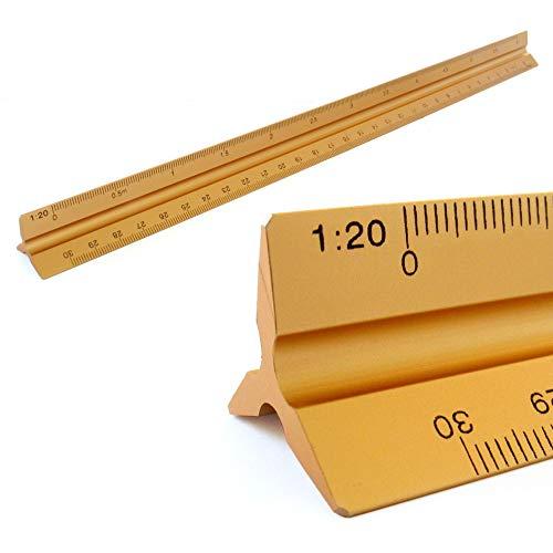 Reglas Aluminio Regla de la escala triangular escala Triangular 1: 20, 1: 25, 1: 50, 1: 75, 1: 100, 1: 150, 30 cm de largo escala Triangular