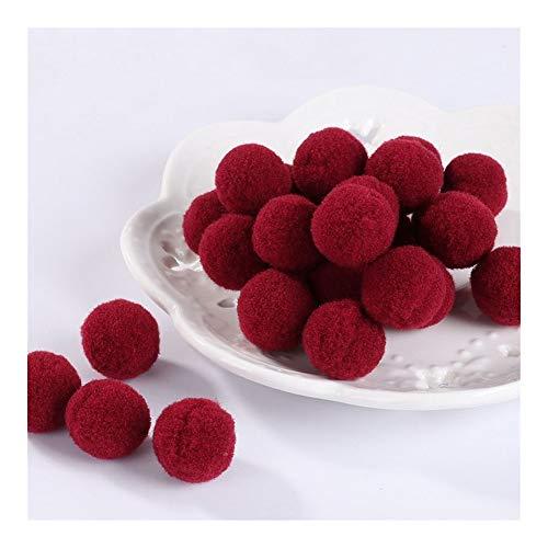 JIAHUI Pompones suaves pompones de felpa esponjosa para manualidades con pompón, bola para decoración del hogar, suministros de costura (color rojo vino, tamaño: 8 mm, 10 g, 240 unidades)