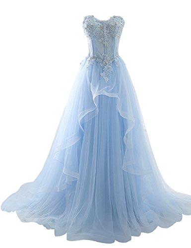 Sarahbridal Damen Bandeau Tüll perspektive Ballkleid Hochzeitskleid Brautkleid Abendkleider elegant mit Blumen Hellblau Gr. EU32