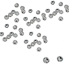 Trimming Shop 100pcs 6mm Silver Shamballa Diamante Beads Rhinestone Rondelle Spacer Jewellery for Handy Crafts, Bracelet, Leathercrafts