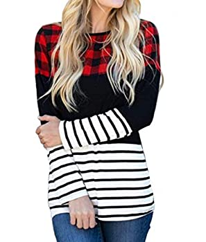 Women Casual Buffalo Plaid Long Sleeve Tunic Tops Color Block Stripe Blouse Pullover  Red Large