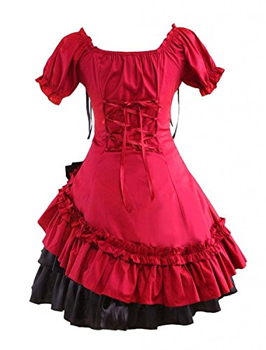 Ainclu Womens Sweet Dark Red and Black Cosplay Gothic Lolita Dress
