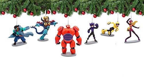 Big Hero 6 Ornament Set 6 Pieces with Hiro, Baymax Mech (Red), Go Go, Honey Lemon, Wasabi, Fred