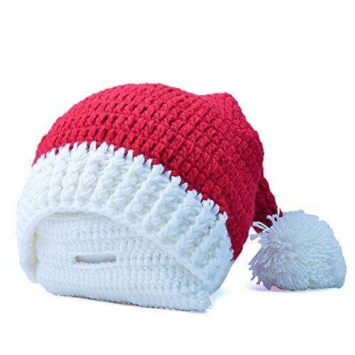 ZXHMZ WeihnachtsmützeWeihnachtsmann MützeRote WeihnachtsmützenGestrickte Weihnachtsmütze Santa Claus bärtige Männer und Frauen rot weißen Hut-Einstellbar_Bild