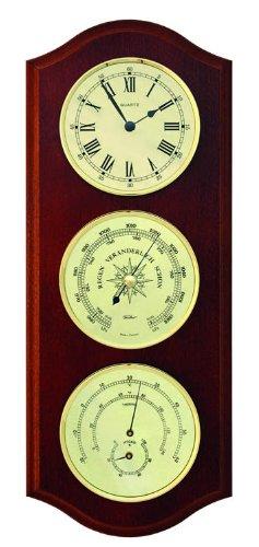 fischer Wetterstation mit Quarzuhr, Holz, nußbaumfarbig, 30x 15,5x 39,5cm