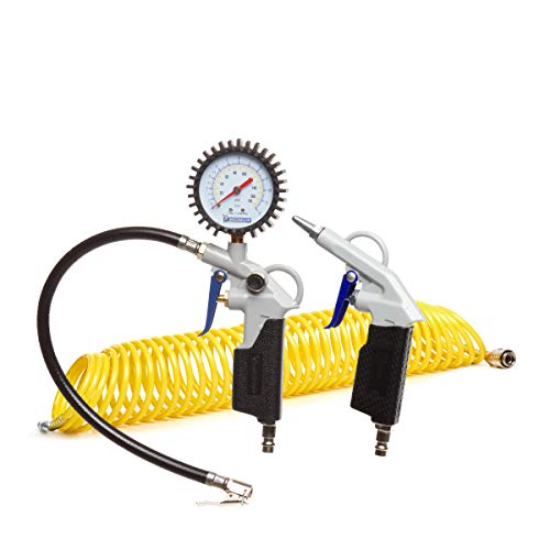 MICHELIN - Kit de aire comprimido de 3 piezas (incluye inflador con manómetro, manguera en espiral de 10 m, pistola de soplado corta) - Presión máxima : 8 bar