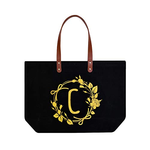 ElegantPark Monogrammed Gifts for Women Personalized Gifts Bag Monogram C Initial Bag Tote for Wedding Bride Bridesmaid Gifts Birthday Gifts Teacher Gifts Bag with Pocket Black Canvas