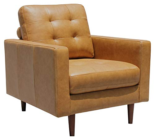 """Amazon Brand – Rivet Cove Mid-Century Modern Tufted Leather Accent Chair, 32.7""""W, Caramel"""