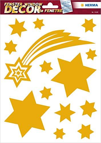 """HERMA 15109 Fensterbilder """"Gold Sterne"""", wiederverwendbar, selbstklebende Fenstersticker aus Folie für Kinderzimmer und Fensterdeko, 14 Fensteraufkleber für Kinder"""